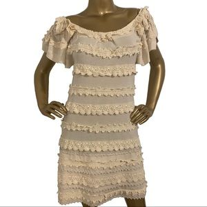 Leifsdottir Ivory Crochet Beaded Dress Size S